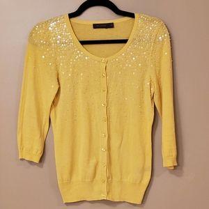 The Limited Yellow Sequined Cardigan